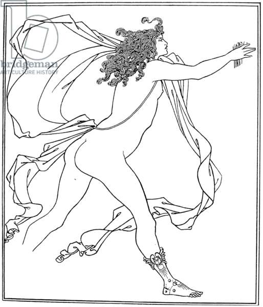BEARDSLEY: APOLLO, 1896 Apollo pursuing Daphne. Unfinished pencil and ink illustration by Aubrey Vincent Beardsley, 1896.