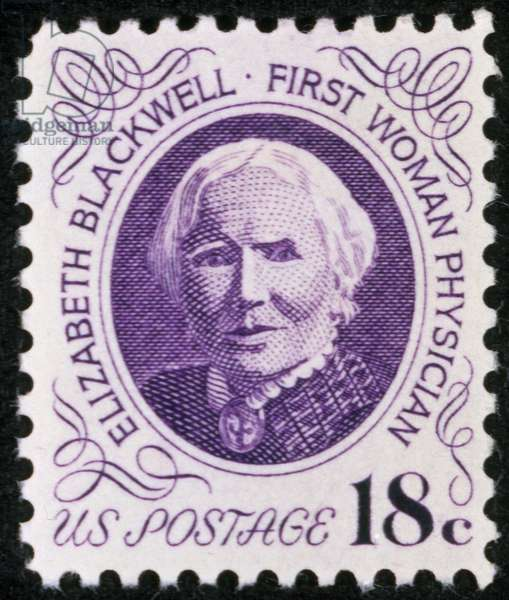 ELIZABETH BLACKWELL (1821-1910). American physician. On a U.S. postage stamp, 1974.
