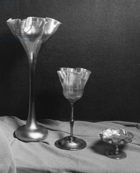 TIFFANY GLASS Glasses by Louis Comfort Tiffany. Photograph, c.1955.
