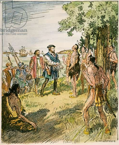 JACQUES CARTIER (1491-1557) French sailor and explorer. Cartier with his men meeting with the Hurons and Iroquois of the St. Lawrence River in 1535. Illustration by C.W. Jefferys.