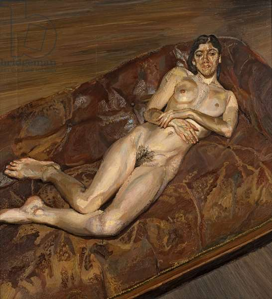 Naked Portrait on a Red Sofa, 1989-91 (oil on canvas)