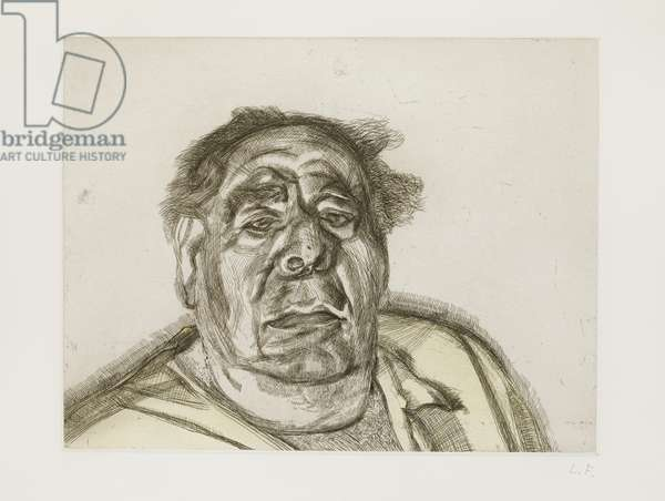 Lord Goodman in his yellow pyjamas, 1987 (etching & w/c on paper)