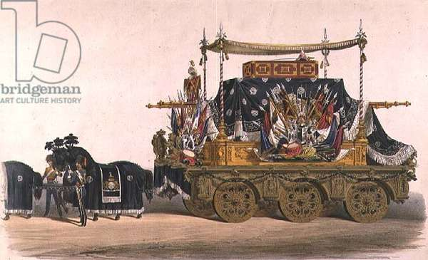 The funeral car of the Duke of Wellington (colour litho)