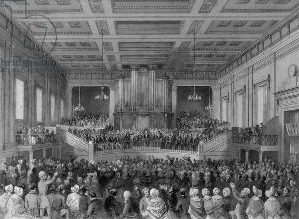 The Great Anti-Slavery Meeting of 1841, at Exeter Hall, engraved by Henry Melville (fl.1826-41) (engraving)