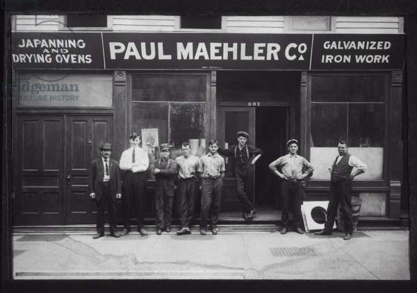 Group of Employees Standing in front of Hardware Store Exterior, Circa 1910