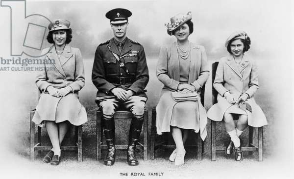 King George VI, H.M. Queen Elizabeth, Princesses Elizabeth and Margaret, of United Kingdom, Portrait, World War II