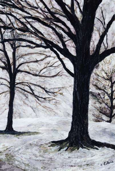 Winter Trees, Greenwich Park, 2004 (paper mosaic collage)