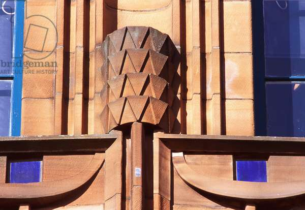Detail of Ardornment on the south facing elevation of Scotland Street school designed by Charles Rennie Mackintosh (photo)