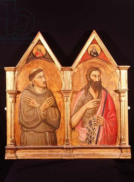 Two panels from a composite altarpiece representing St. Francis and St. John the Baptist