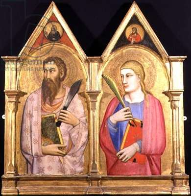Two panels from a composite altarpiece representing St. Bartholemew and St. John the Evangelist