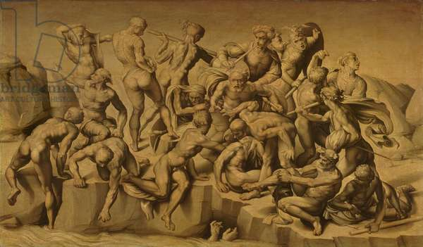 The Battle of Cascina, or The Bathers, after Michelangelo (1475-1564), 1542 (oil on panel)