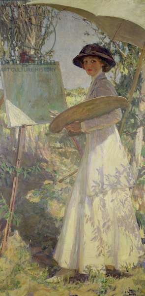 Mrs Lavery Sketching, 1910 (oil on canvas)