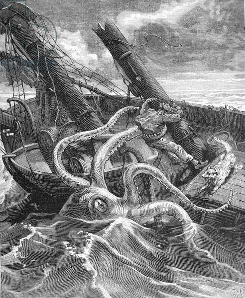 Giant Squid or Octopus Attacking Sailing Boat in the Atlantic Ocean, 1881 (engraving)