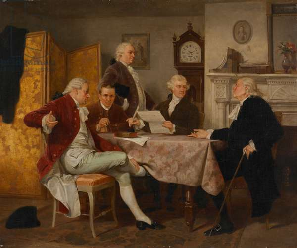 Drafting the Declaration of Independence (oil on canvas)