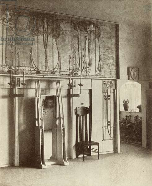 The Mackintosh exhibition room, 8th Vienna Secession, 1900 (b/w photo)
