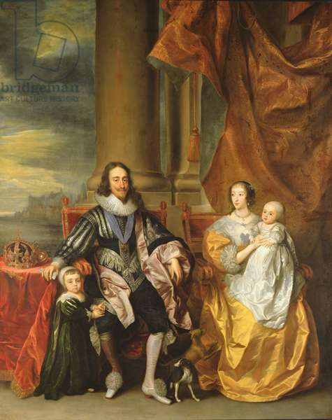 King Charles I (1600-49) and his Family (oil on canvas)