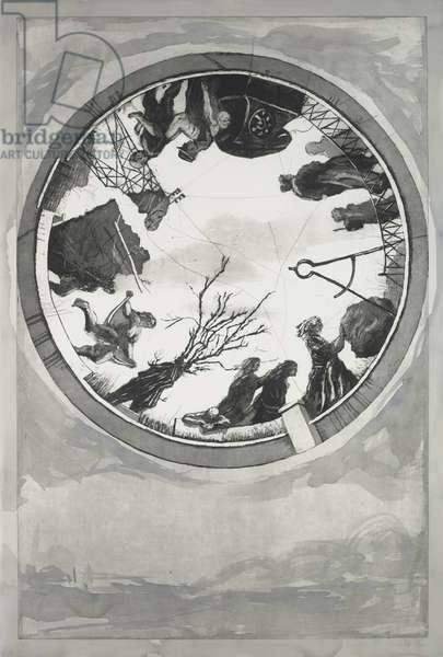 Atlas Procession 1 (Variation), 2000 (etching, aquatint, and drypoint with handpainting by artist)