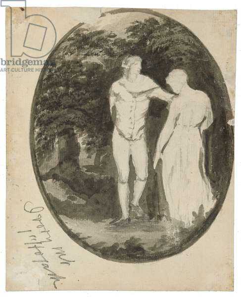 A Couple in a Wooded Landscape set in an oval (verso), c. 1838-1848 (ink and wash on laid paper)