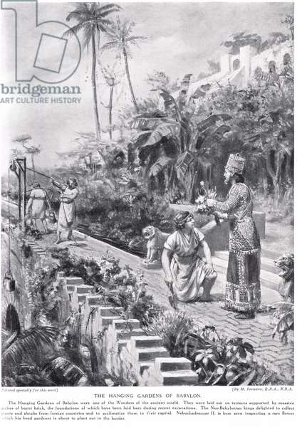 The Hanging Gardens of Babylon, illustration from 'Hutchinson's 'History of the Nations' (litho)