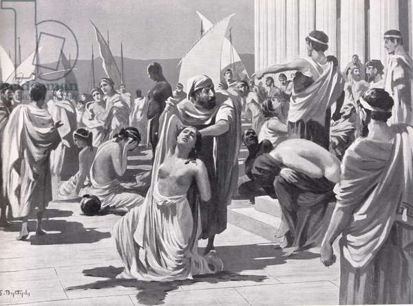 The Greek Slave Market at Phangoria, illustration from 'Hutchinson's History of the Nations', 1915 (litho)