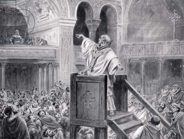 John Chrysostom Preaching in Constantinople, illustration from 'Hutchinson's History of the Nations', 1915 (litho)