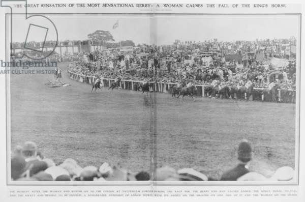 The Derby at Tattenham Racecourse where Emily Davison ran under the King's Horse, 1913 (b/w photo)