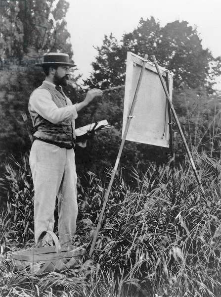 John Singer Sargent (1856-1925) painting in the countryside (b/w photo)