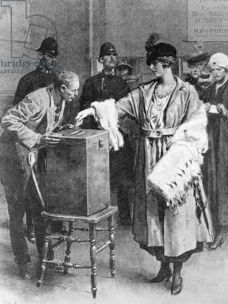 Women Voters Recording their Votes for the First Time at the General Election of 1918, from 'The Sphere', 21st December 1918 (litho)