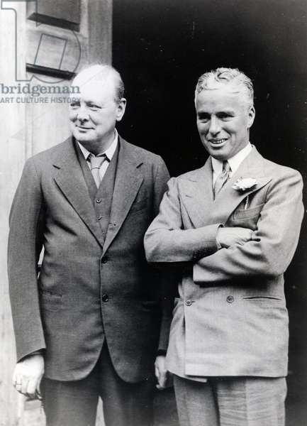 Winston Churchill (1874-1965) and Charlie Chaplin (1889-1977), 19th September 1931 (b/w photo)