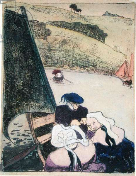 Bretons in a Boat, from the series 'Les Brettoneries', 1889 (zincograph with hand-colouring)