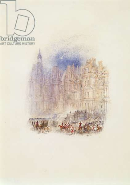 Fontainebleau: The Departure of Napoleon, 1833 (w/c, pen & red ink on white wove paper)
