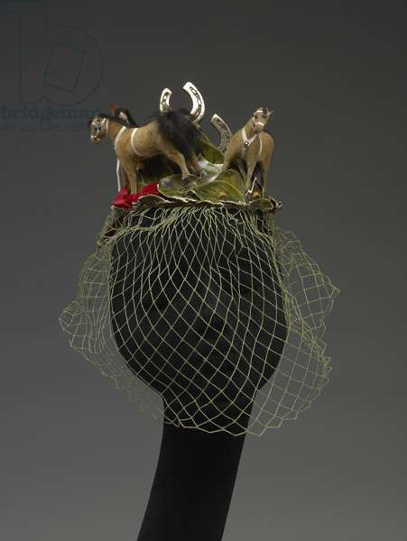 Hat (Horses) (synthetic fibers, plastic, rabbit hide and fur, brass, wood, paper, cotton)