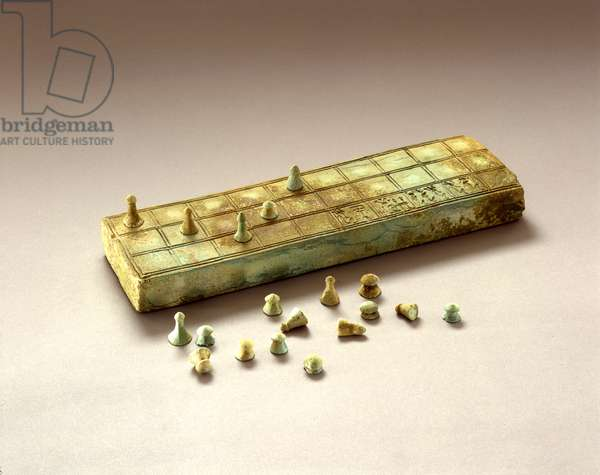 A game of senet, from Tanis, New Kingdom (faience)