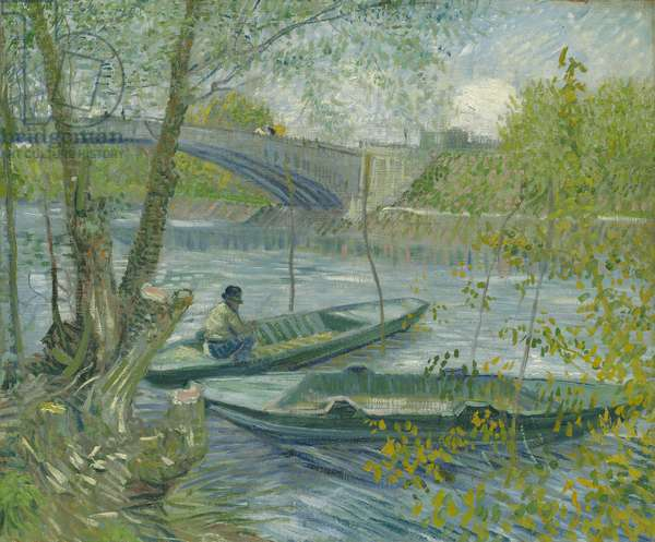 Fishing in Spring, the Pont de Clichy (Asnières), 1887 (oil on canvas)