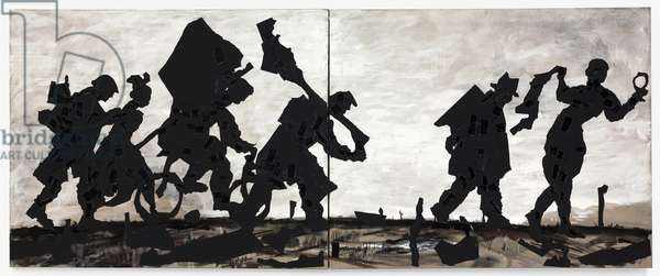 Procession Canvas-Diptych, 2000 (paper collage, charcoal & paint on canvas)