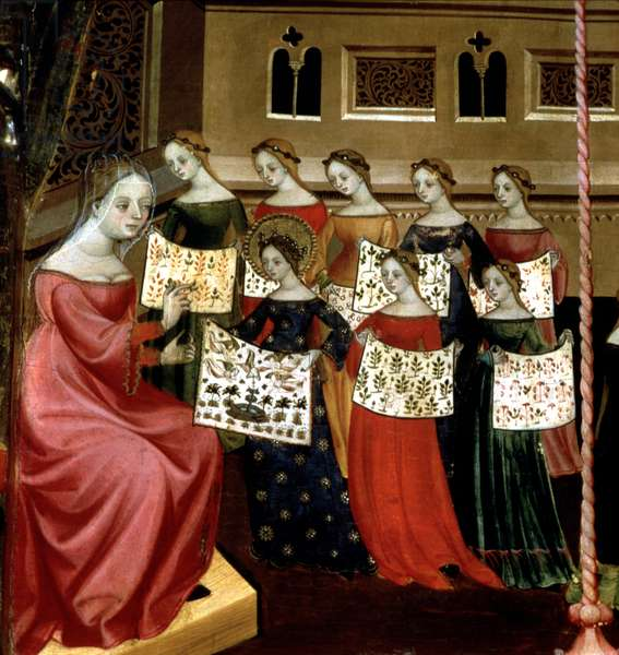 The Virgin Mary with her classmates showing needlework samplers to their teacher, detail from the Altarpiece of the Virgin and St. George, c.1390-1400 (tempera on panel)