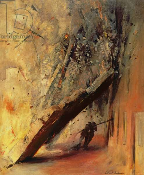 A House Collapsing on Two Firemen, Shoe Lane, London, EC4 (oil on canvas)
