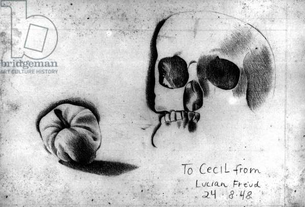 Skull and Apple, 1948 (charcoal) (b/w photo)
