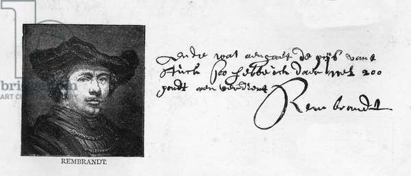Handwriting and signature of Rembrandt from a letter to Constantine Huygens requesting payment of a sum of money owed, c. 1640 (pen & ink on paper)