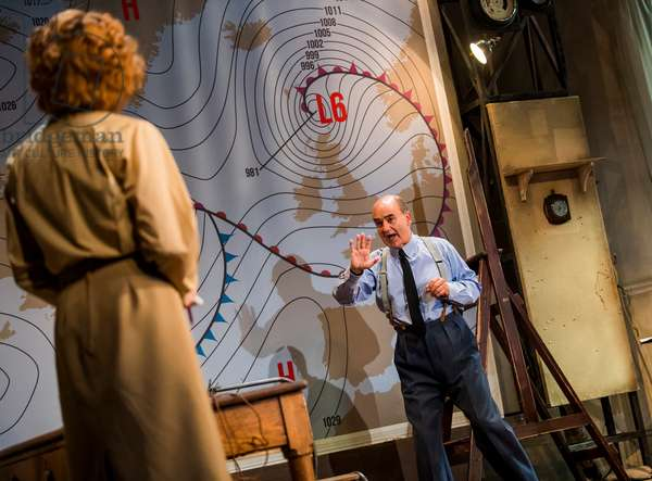 Laura Rogers (Kay Summersby) and David Haig (Group Captain James Stagg) in Pressure by David Haig, Ambassadors Theatre, June 2018 (photo)