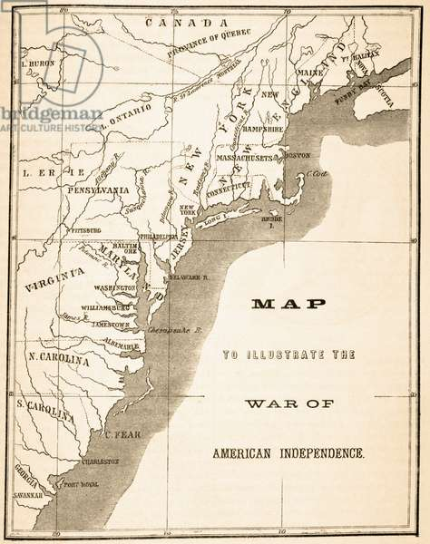 Map to illustrate the War of American Independence, from 'The National and Domestic History of England' by William Hickman Smith Aubrey (1858-1916) published London, c.1890 (litho)