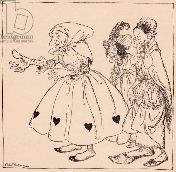 In came the three women dressed in the stangest fashion.  Illustration by Arthur Rackham from Grimm's Fairy Tale, The Three Spinning Women.
