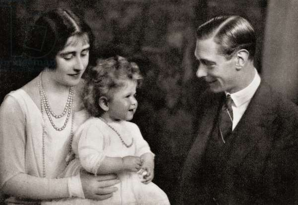 The Duke and Duchess of York with their daughter Princess Elizabeth immediately after their return from Australia in 1927, from The Duchess of York, c.1928