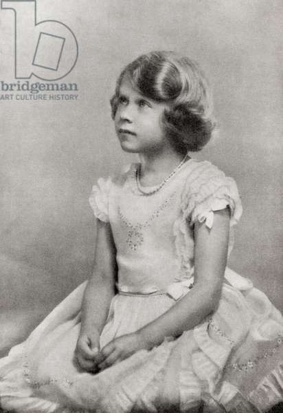 Princess Elizabeth, future Queen Elizabeth II, seen here aged 6, from Their Gracious Majesties King George VI and Queen Elizabeth, published 1937.