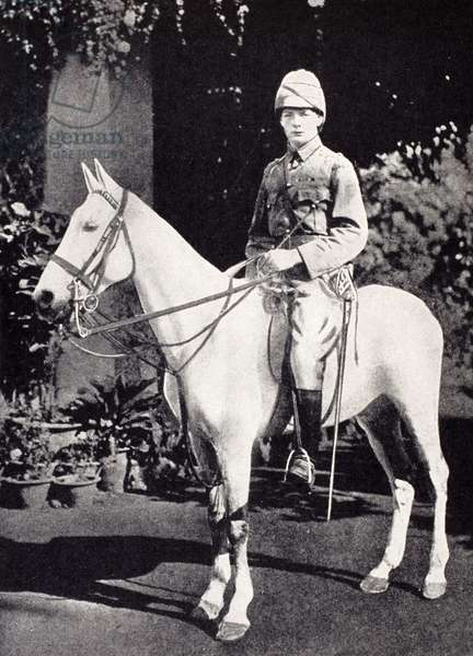 Winston Churchill on horseback in Bangalore, India in 1897, from 'A Roving Commission by Winston S. Churchill', published by Scribner's, 1930 (litho)