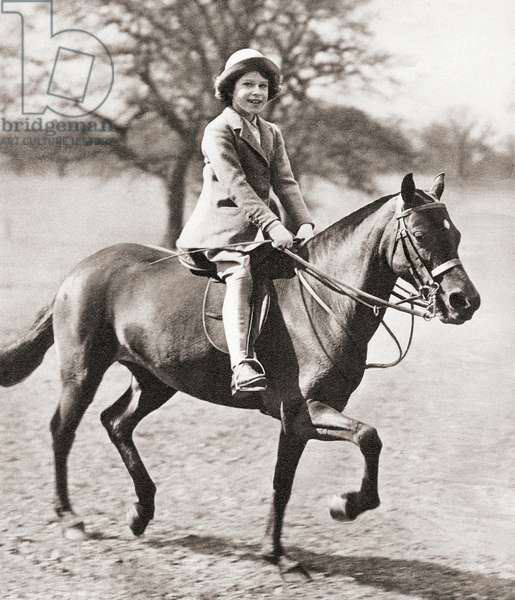 Princess Elizabeth, future Queen Elizabeth II, seen here riding her horse in Windsor Great Park