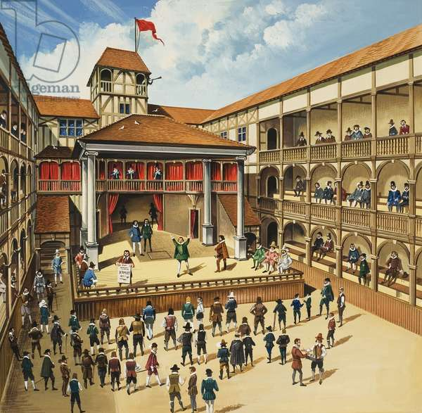 Theatre with Performance of Hamlet (gouache on paper)