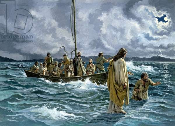Christ walking on the Sea of Galilee (gouache on paper)