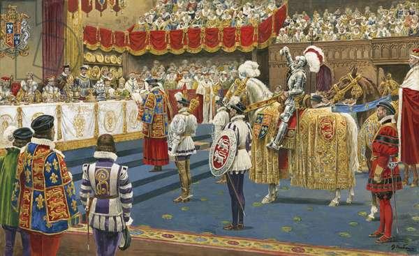 Champion in front of Queen Elizabeth I