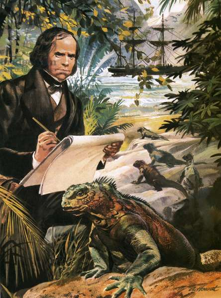 Charles Darwin on the Galapagos Islands